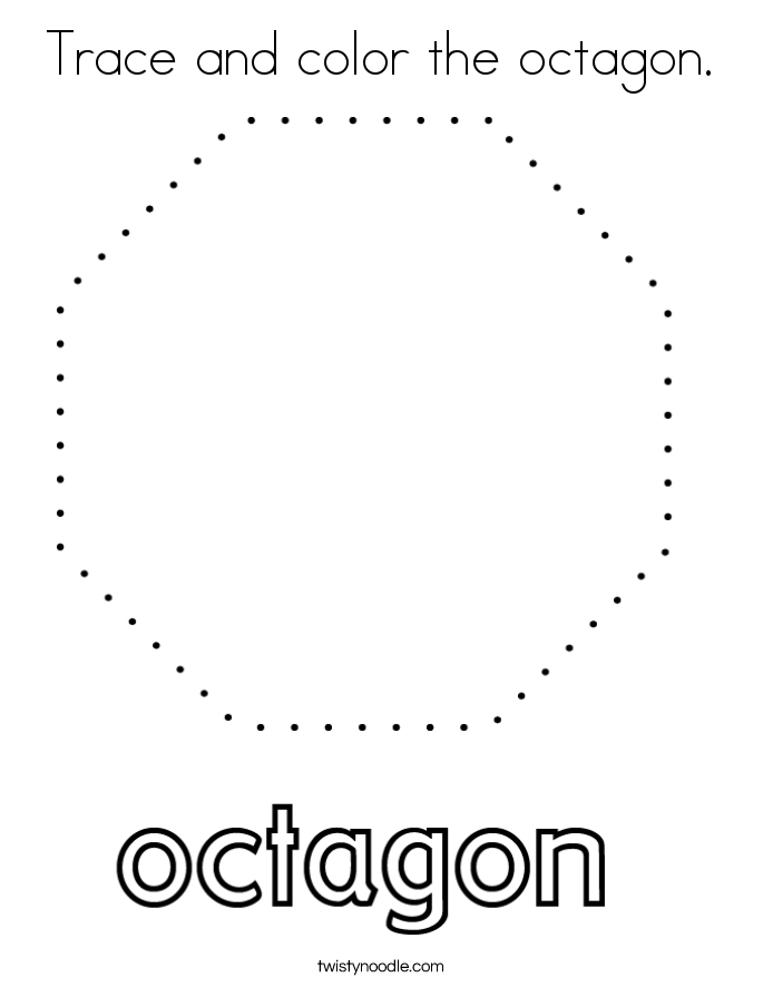 Trace and color the octagon. Coloring Page