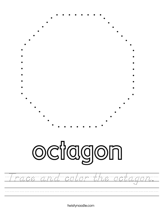 Trace and color the octagon. Worksheet