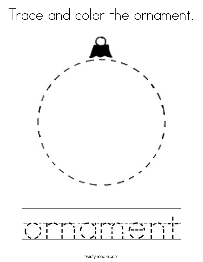 Trace and color the ornament. Coloring Page