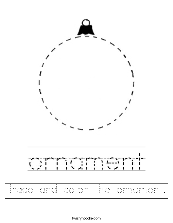 Trace and color the ornament. Worksheet