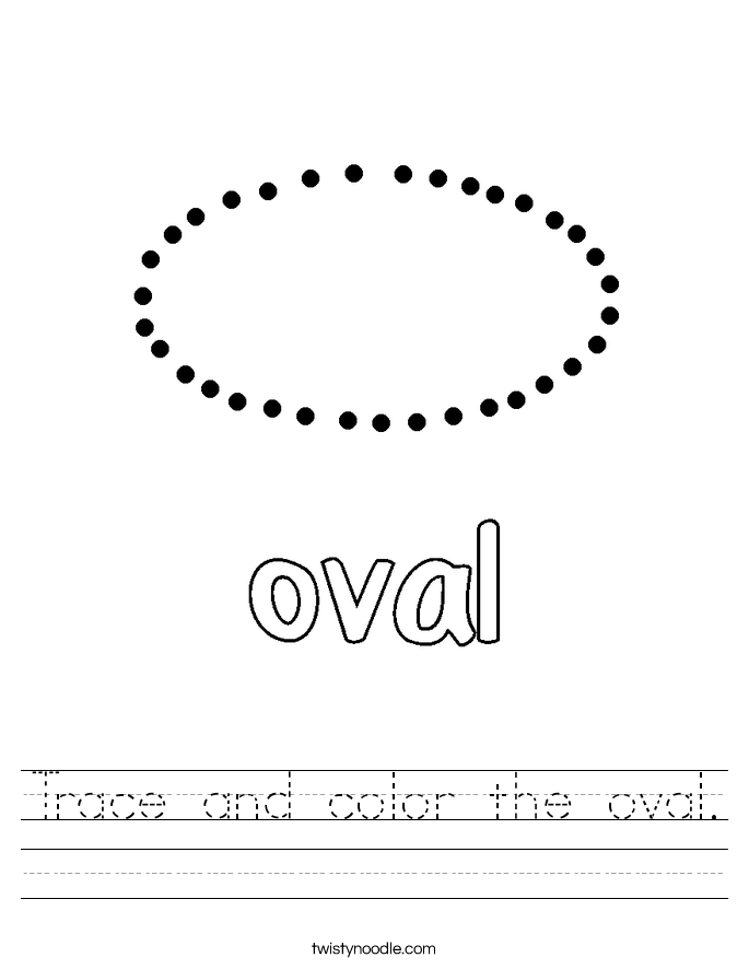 Trace and color the oval. Worksheet