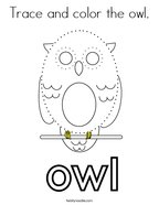 Trace and color the owl Coloring Page