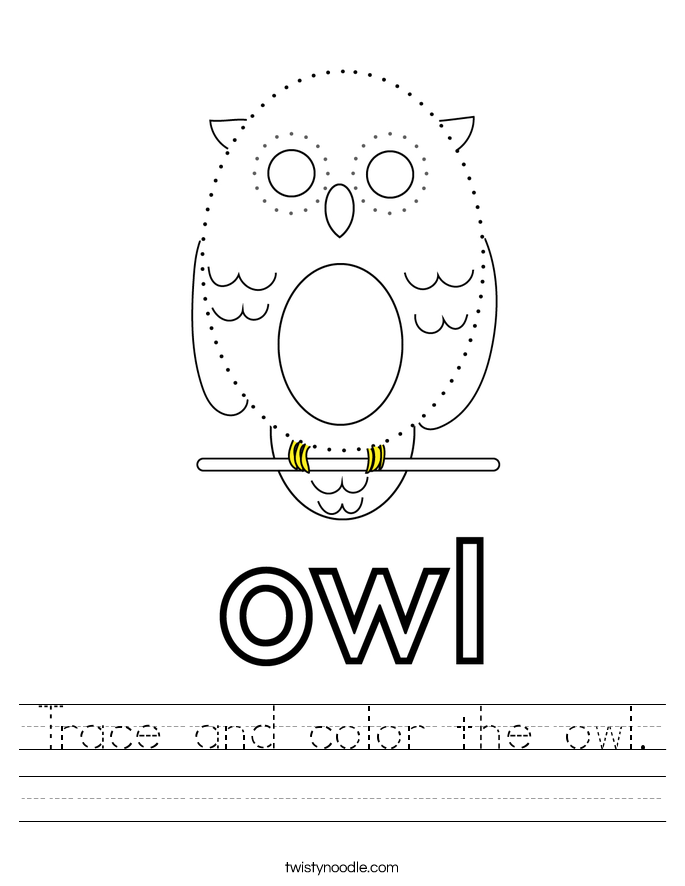 Trace and color the owl. Worksheet