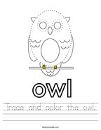 Trace and color the owl Handwriting Sheet