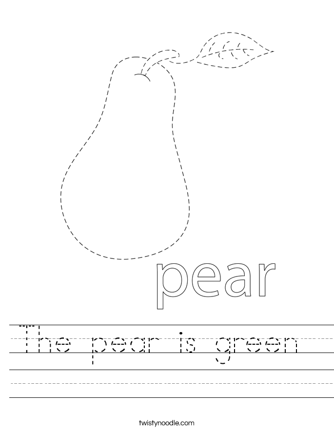 The pear is green  Worksheet