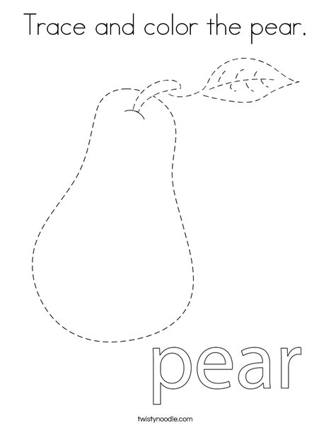 Trace and color the pear. Coloring Page