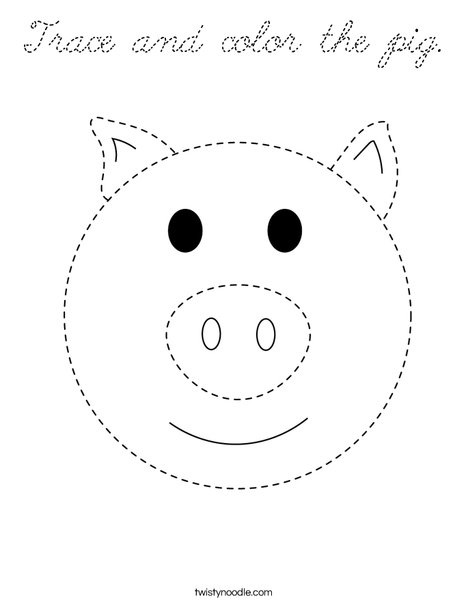 Trace and color the pig. Coloring Page