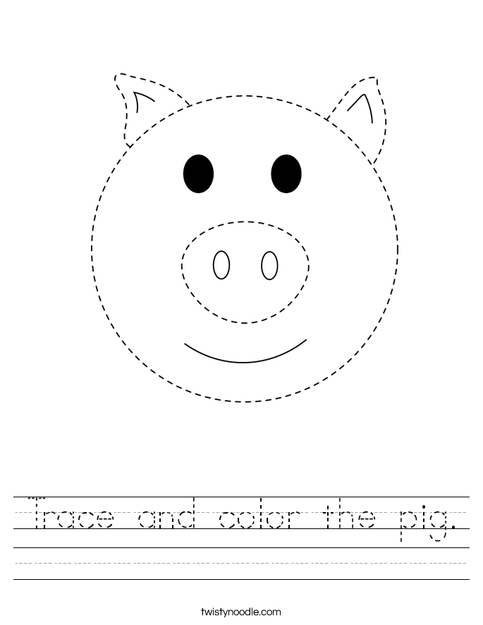 Trace and color the pig. Worksheet