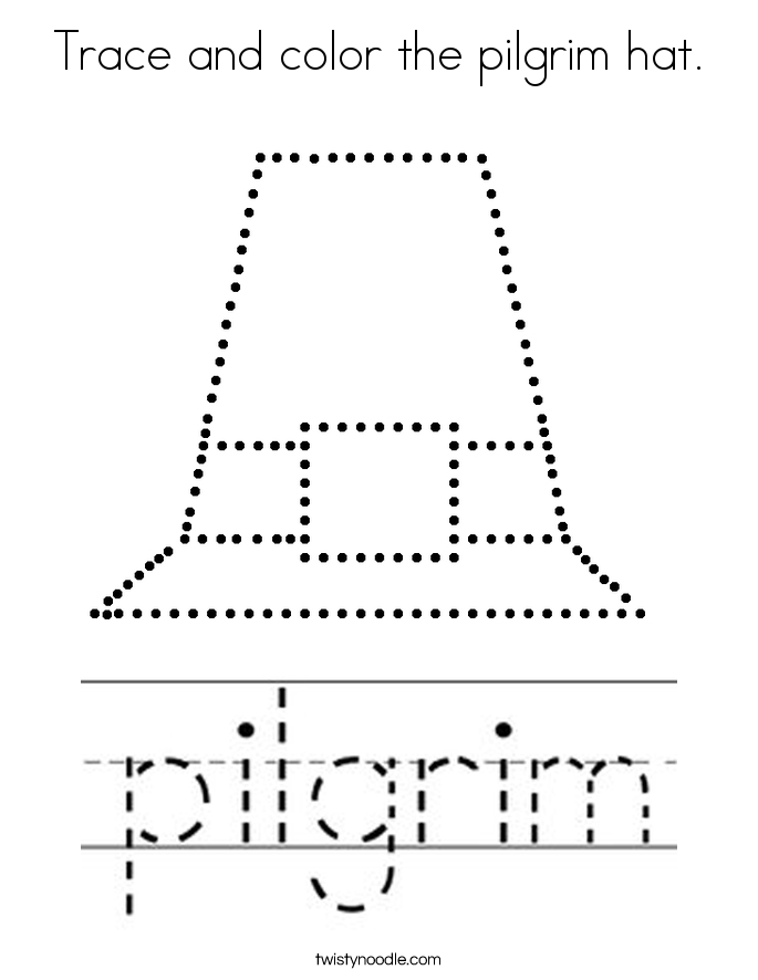 Trace and color the pilgrim hat. Coloring Page