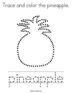 Trace and color the pineapple Coloring Page