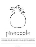 Trace and color the pineapple Handwriting Sheet