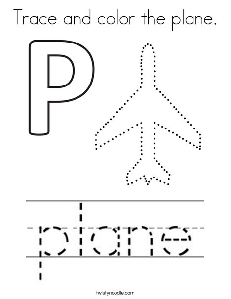 Trace and color the plane. Coloring Page