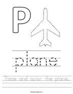 Trace and color the plane Handwriting Sheet