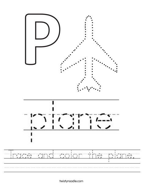 Trace and color the plane Worksheet - Twisty Noodle
