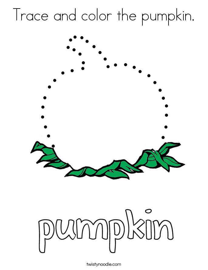 Trace and color the pumpkin. Coloring Page