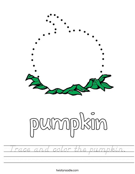 Trace and color the pumpkin. Worksheet