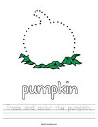 Trace and color the pumpkin Handwriting Sheet