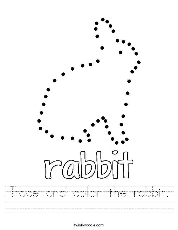 trace and color the rabbit worksheet