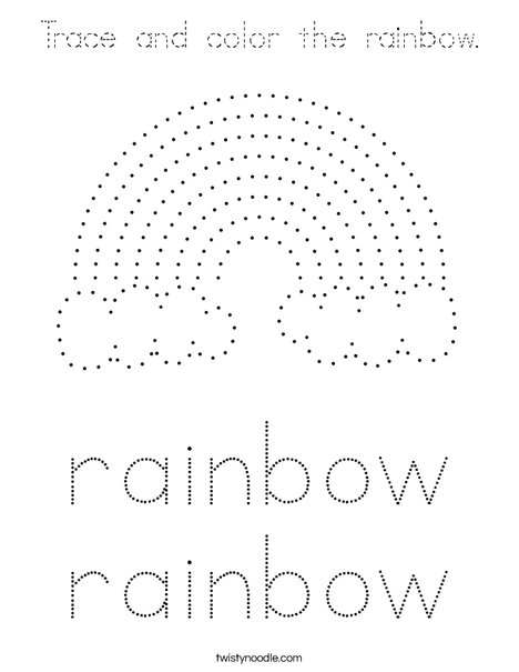 Trace and color the rainbow. Coloring Page