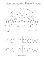 Trace and color the rainbow Coloring Page