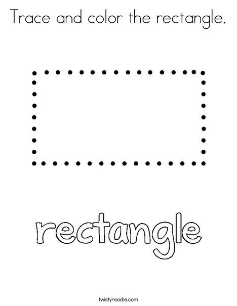 Trace And Color The Rectangle Coloring Page on Preschool Writing Pages