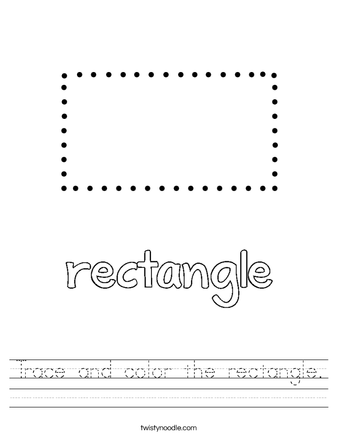 Trace And Color The Rectangle Worksheet Twisty Noodle