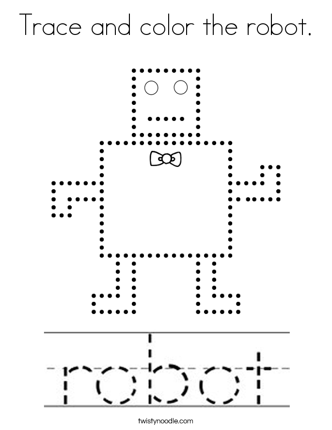 Trace and color the robot. Coloring Page