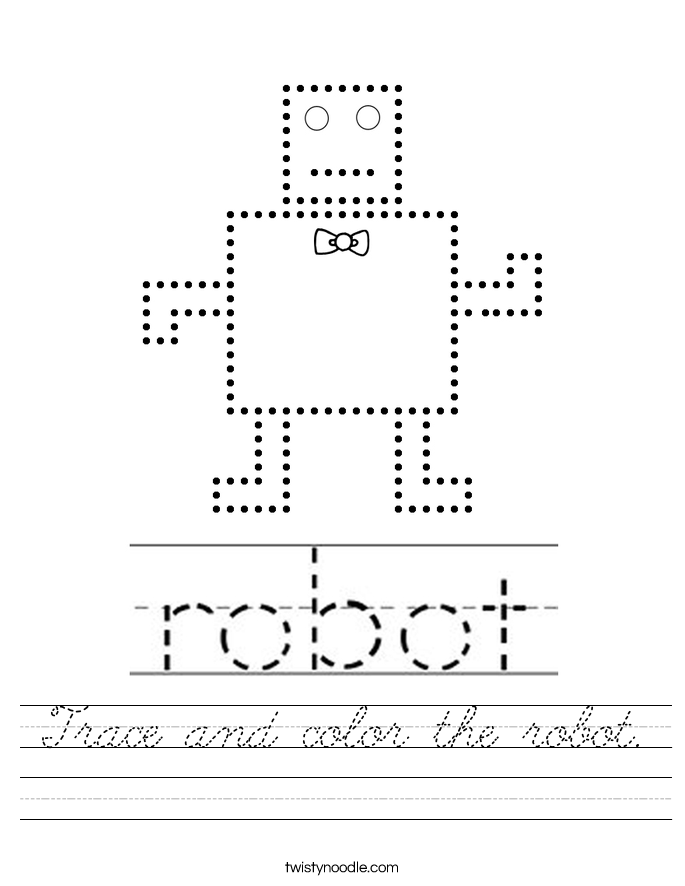 Trace and color the robot. Worksheet