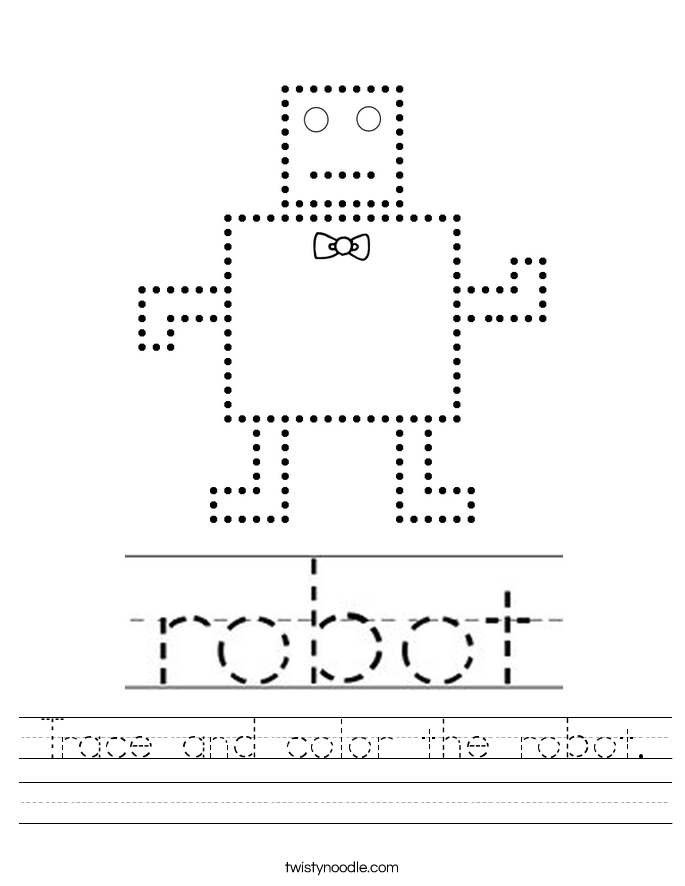 Trace And Color The Robot Worksheet