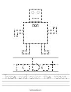 Trace and color the robot Handwriting Sheet