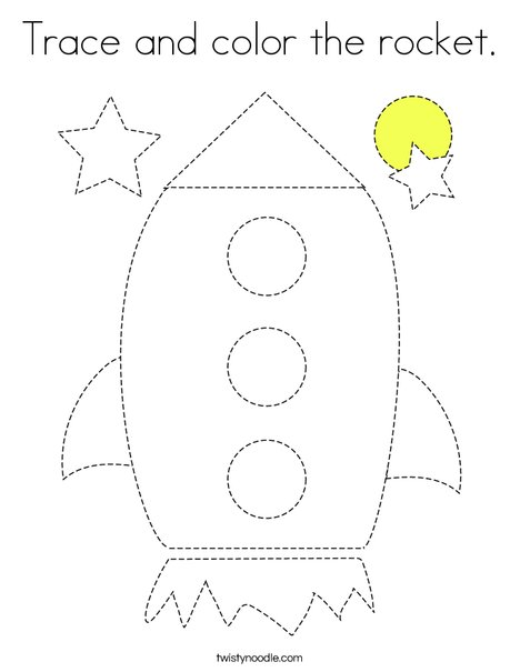 Trace and color the rocket. Coloring Page