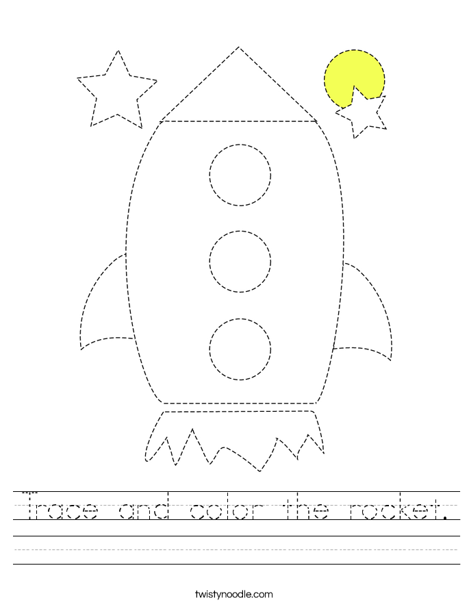 Trace and color the rocket. Worksheet