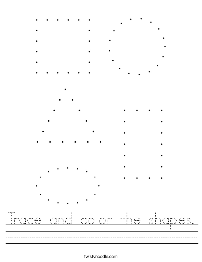 Trace and color the shapes Worksheet - Twisty Noodle