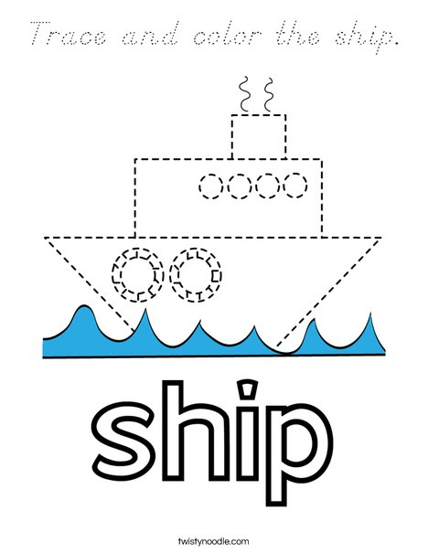 Trace and color the ship. Coloring Page