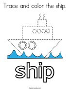 Trace and color the ship Coloring Page