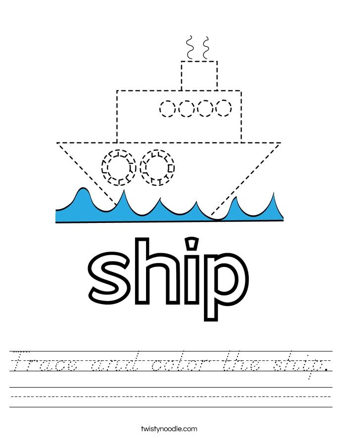 Trace and color the ship. Worksheet