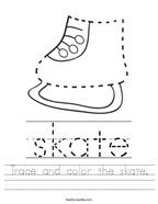 Trace and color the skate Handwriting Sheet