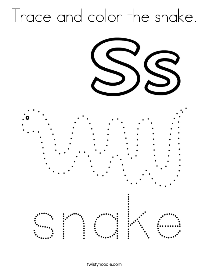 Trace and color the snake. Coloring Page