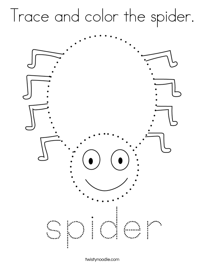 Trace and color the spider. Coloring Page