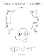Trace and color the spider Coloring Page
