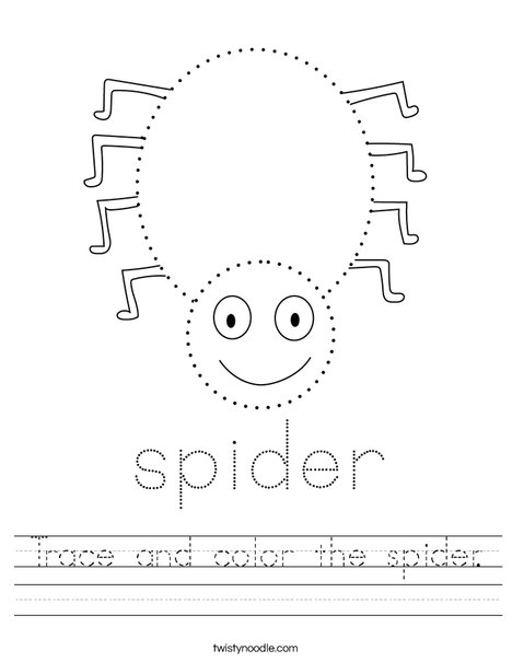 Trace and color the spider. Worksheet