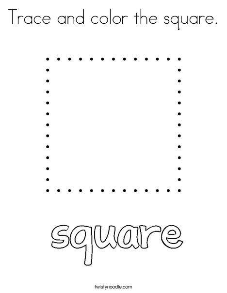 Trace and color the square Coloring Page - Twisty Noodle
