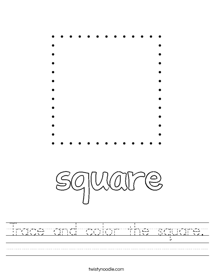 Trace and color the square. Worksheet