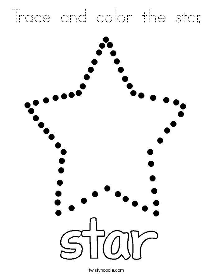 Trace and color the star. Coloring Page