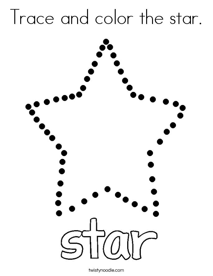 Trace and color the star Coloring Page - Twisty Noodle