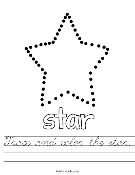Trace and color the star. Worksheet