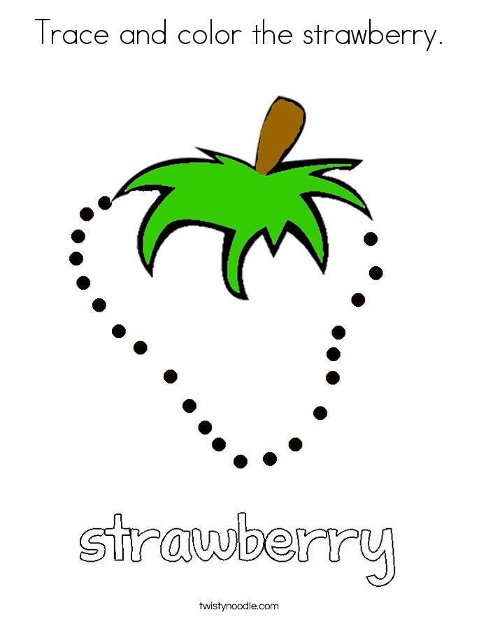 Trace and color the strawberry. Coloring Page