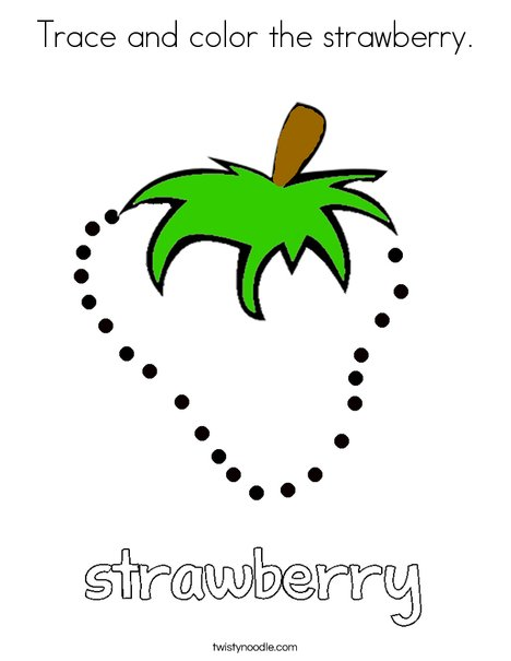 Trace And Color The Strawberry Coloring Page