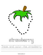 Trace and color the strawberry Handwriting Sheet