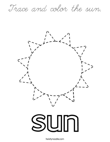 Trace and color the sun. Coloring Page